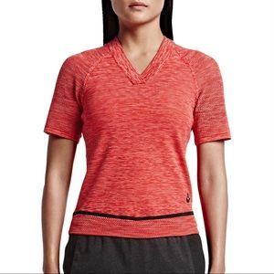 Nike TechKnit Sport Casual Vneck Crop Top Red
